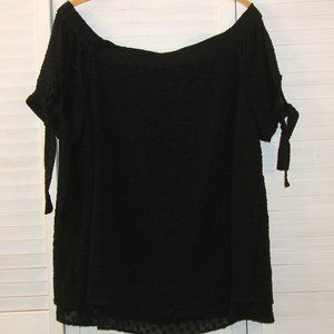 Cato 14/16W Lined/Layered Black Off Shoulder Top
